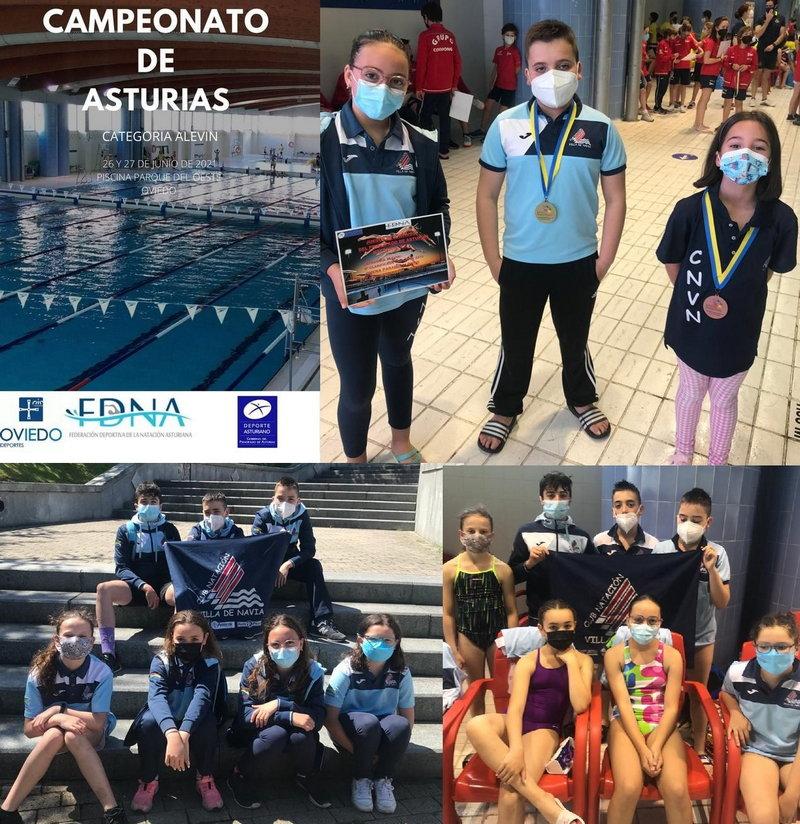 Buena actuación de los alevines del Club Natación Villa de Navia en el Campeonato de Asturias