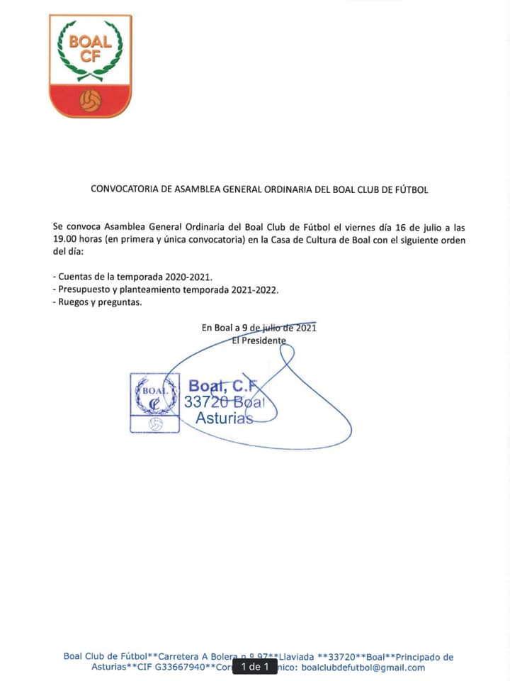 El Boal CF celebra Asamblea General Ordinaria el próximo viernes