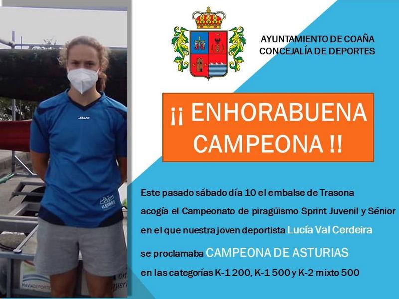 Felicitación del Ayuntamiento de Coaña a la deportista coañesa Lucía Val