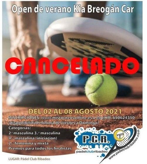 Cancelado el Open de Verano del Padel Club Ribadeo debido a la Covid 19