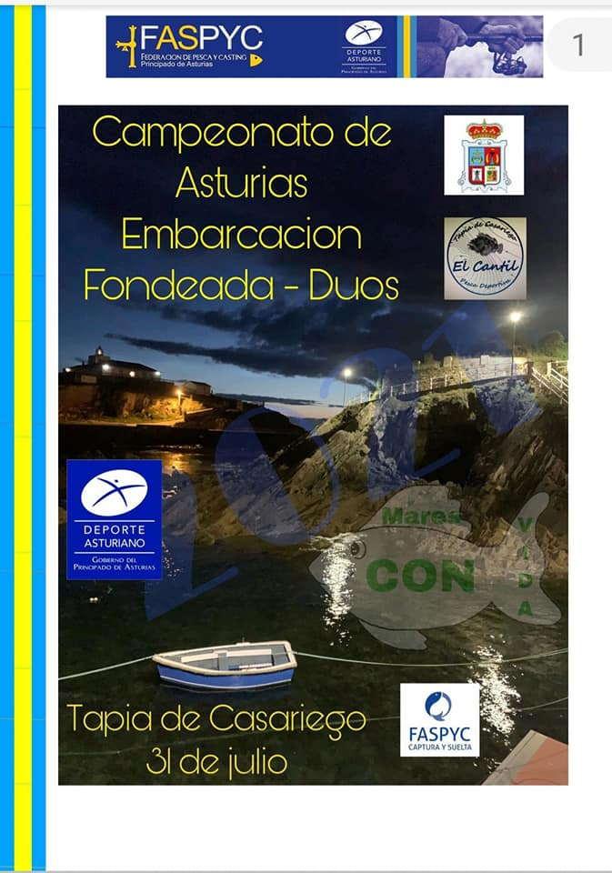 Tapia acoge el Autonómico de Pesca Dúos Embarcación Fondeada