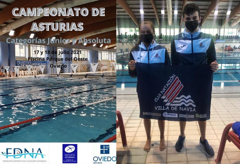 Seis podios para los nadadores junior del Villa de Navia en el Campeonato de Asturias
