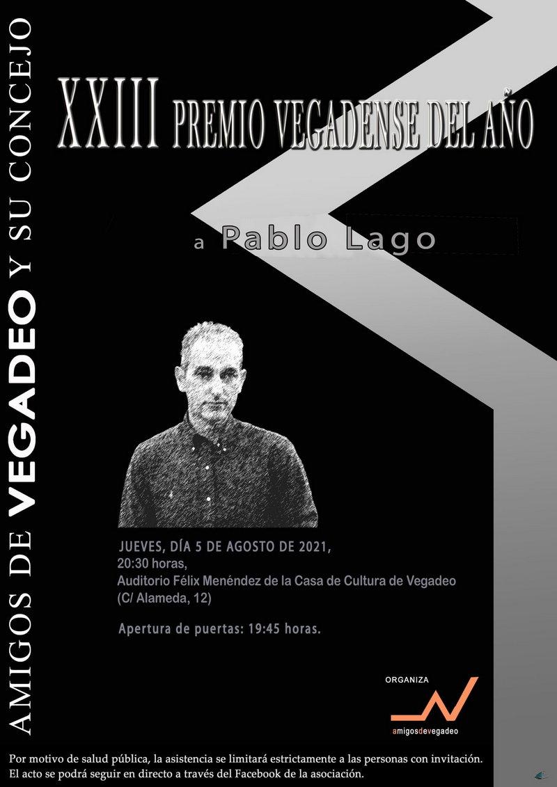 Pablo Lago, recibirá este jueves el XXIII Premio Vegadense del Año
