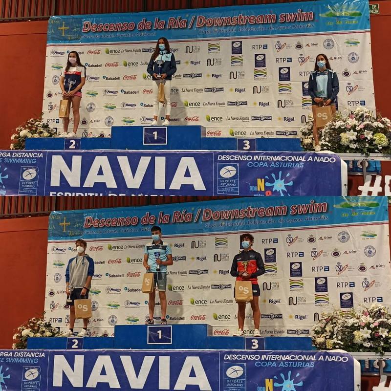 Actualización Resultados del Descenso en la Prueba de 2.400 metros donde vencieron los Nadadores del Villa de Navia, Lucas Fernández y Laura Pérez