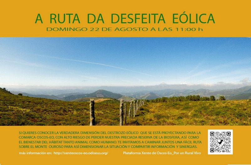 """La Plataforma Xente de Oscos-Eo organiza la """"Ruta da Desfeita Eólica"""" para el domingo, 22 de agosto"""