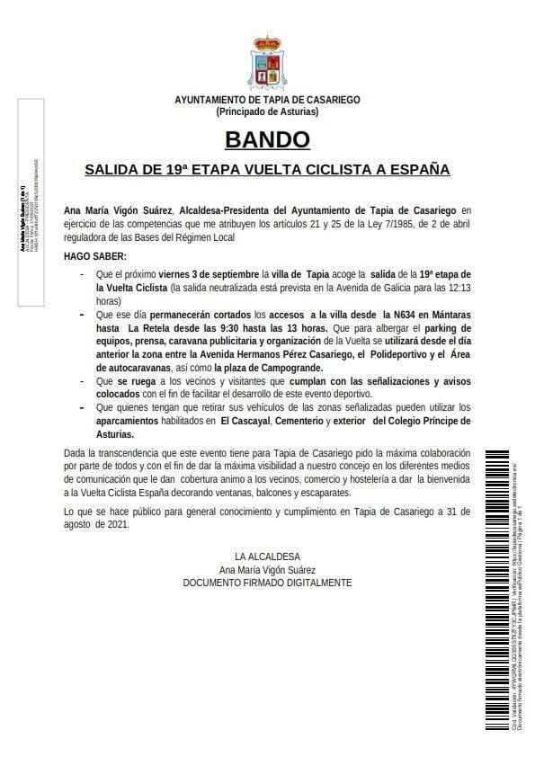 Bando Ayuntamiento de Tapia Salida 19ª Etapa Vuelta Ciclista a España