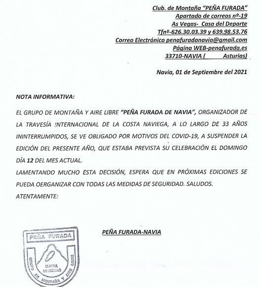 Cancelada la 34ª Travesía Costa Naviega prevista para el próximo domingo
