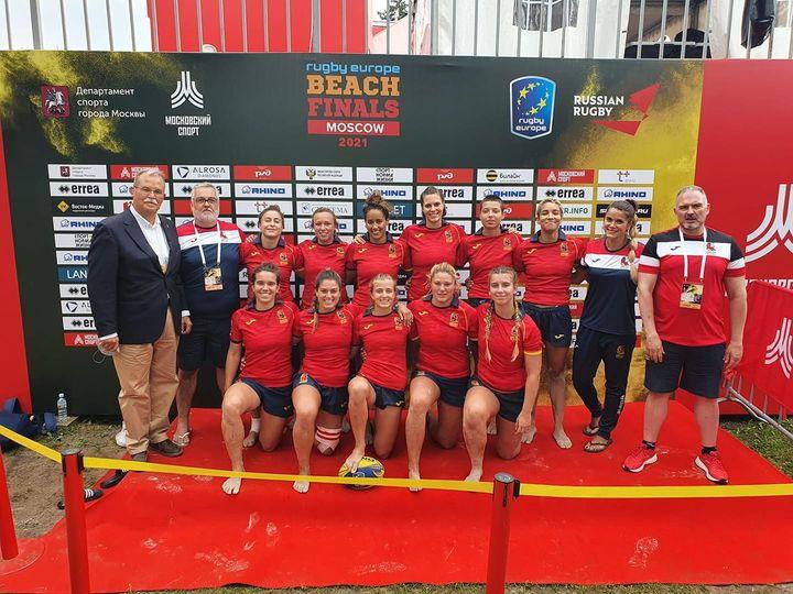 Plata de la Ribadense Ana Iglesias Sobrino, con la Selección Española Femenina de Rugby Playa