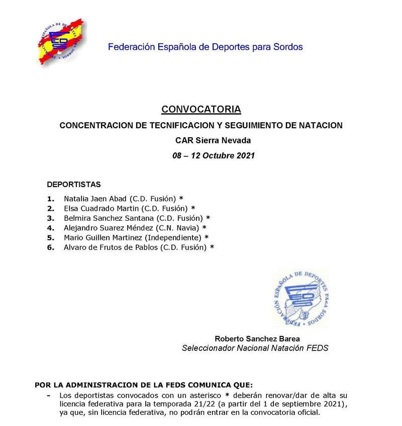 Alejandro Suárez(Club Natación Villa de Navia), convocado para una Concentración de la Federación Española de Deportes para Sordos