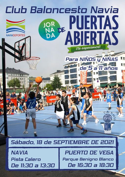 Jornada de Puertas Abiertas del Club Baloncesto Navia para niños-as de 5 a 11 años