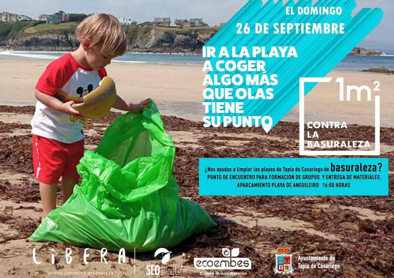 El próximo domingo 26 de septiembre Tapia de Casariego se suma a la campaña 1m2por las playas