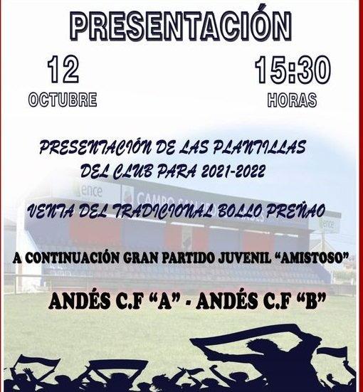Presentación Oficial de todos los Equipos del Andés CF el próximo martes 12 de Octubre en San Pedro